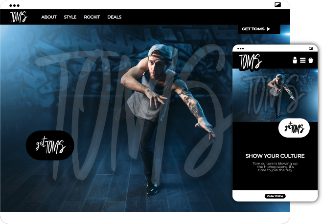 toms website example by Spear Brand - graffiti hiphop urban style website example